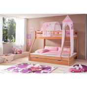 Relita Bunk Bed + Bettschubladen Mike and 3 Piece Textils.rosa / White, Solid Beech Wood Natural Varnish