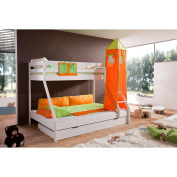 Relita Bunk Bed + Bettschubladen Mike and 2 Piece Textils.grün / orange, Solid Beech Varnished White