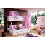 Relita Bunk Bed + Bettschubladen Mike and 3 Piece Textils.rosa / Purple, Solid Beech Varnished White
