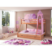Relita Bunk Bed + Bettschubladen Mike and 3 Piece Textils.lila / Pink, Solid Beech Wood Natural Varnish