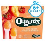 Organix Double Apple Strawberry Peach Puree 4X100g
