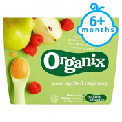 Organix Fruit Puree Pear,Apple Raspberry 4X100g