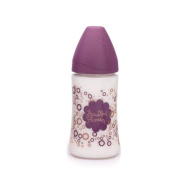 SUAVINEX Feeding Bottle 270 ml with Silicone Teat Variable Flow 3P + 0 m Haute Couture Purple Flower