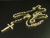 Yellow Gold Rosary Diamond Cut Necklace Chain 25+4 10k