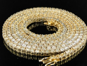 1 Row Diamond Necklace in Yellow Gold Finish 90cm