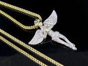 Men's 10K Yellow Gold Genuine Diamond Iced Angel Pendant Chain 1Ct 3.8cm