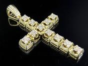 Men's 10K Yellow Gold Real Diamond Block Cross 1.25Ct 5.6cm
