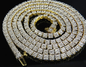 14K Yellow Gold Real Diamond 1 Row Prong Chain Necklace 7.5 ct