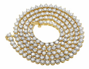 10K Yellow Gold Real Diamond Martini Prong Tennis Chain Necklace 12Ct 4MM