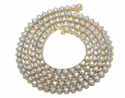 10K Yellow Gold Real Diamond Martini Prong Tennis Chain Necklace 14Ct 5MM