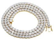 "Men's 10K Yellow Gold VS Diamond 4MM Cluster Tennis Chain Necklace 14 CT 24"""