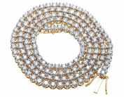 """Men's 10K Yellow Gold Real Diamond 4MM 1 Row Prong Chain Necklace 19.5ct 26"""""""