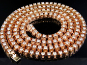 Men's 10K Rose Gold Real Diamond Tennis Chain Necklace 32 1/2 ct