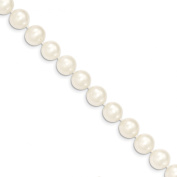 """20"""" 14k Solid Yellow Gold 9-10mm White Near Round FW Cultured Pearl Necklac"""