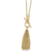 46cm 14k Solid Yellow Gold Cable Chain Tassel Toggle Necklace