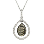 DB Designs Sterling Silver 1/4ct TDW Brown Diamond Teardrop Necklace