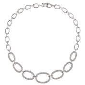 Malin + Mila Silvertone 1ct TDW Diamond Graduated Oval Link Fashion Necklace