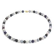 DaVonna 14k Gold Multi Dark FW Pearl 16-inch Necklace