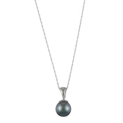 DaVonna 14k Gold Cultured Black Tahitian Pearl Necklace