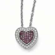 Sterling Silver & CZ Brilliant Embers Heart Necklace