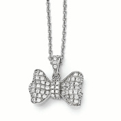 Sterling Silver & CZ Brilliant Embers Bow Necklace
