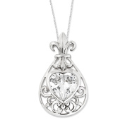 My Heart Belongs to You Sterling Silver Necklace with Cubic Zirconia