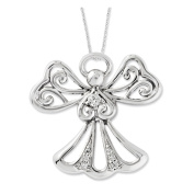 Rhodium Plated Sterling Silver & CZ Angel of Kindness Necklace, 46cm