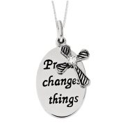 Prayer Changes Things Silver Cross Necklace with Cubic Zirconia