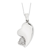 My Beloved Friend Sterling Silver Heart Necklace with Cubic Zirconia