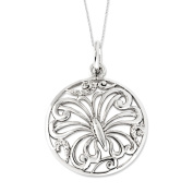 Miracles Sterling Silver Butterfly Necklace with Cubic Zirconia
