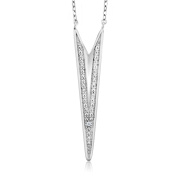Diamond Rhodium Plated 925 Silver Funky Geo Necklace 46cm Chain with 5.1cm Extenders