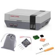 Mini NES NESPI CASE Retroflag Case with Cooling Fan & Heatsinks & Flannel Bag for Retropie Raspberry Pi 3, 2 and B+