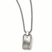 Edward Mirell Titanium Brushed & Polished .10ct. Diamond Pendant Necklace