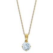 10K Tiara Collection Diamond Lab Created Aquamarine Necklace