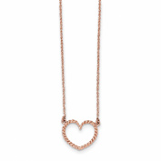 43cm 14k Solid Rose Gold Polished & Textured Heart Necklace