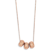 41cm 14K Solid Rose Gold Ropa Diamond Cut Beads W/ 5.1cm Ext Necklace
