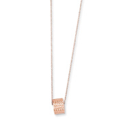 """16"""" 14K Solid Rose Gold 8.5mm Diamond Cut Bead W/ 2"""" Ext Necklace"""