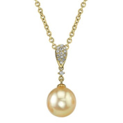 Radiance Pearl 14k Yellow Gold Golden South Sea Pearl 1/10ct TDW Diamond Pendant (9-10mm, 10-11mm, 11-12 mm) Yellow Gold - 9mm Pearl Size