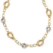 14k Two Tone Gold Italian 11mm Link Necklace, 18 Inch