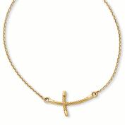 14k Large Sideways Curved Twist Cross Necklace