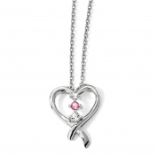 10kw Clear & Pink Topaz Heart of Resilience w/5.1cm ext Necklace