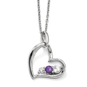 10kw Clear & Purple Topaz Heart of Strength w/5.1cm ext Necklace