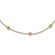 14KY Diamond-cut Beads Station Necklace