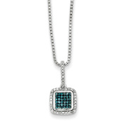 Sterling Silver with White/Blue Diamonds Square Pendant