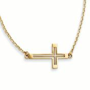 14k Sideways Cut-out Cross Necklace