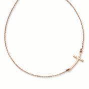 14k Rose Gold Large Sideways Curved Cross Necklace
