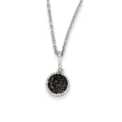 Sterling Silver Black and White Diamond Round Pendant