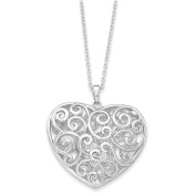 Sterling Silver Antiqued Heart Of Support 46cm . Necklace