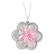 Pretty in Pink Sterling Silver and Cubic Zirconia Flower Necklace