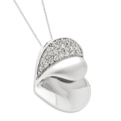 Glimpse of my Heart Sterling Silver Necklace with Cubic Zirconia